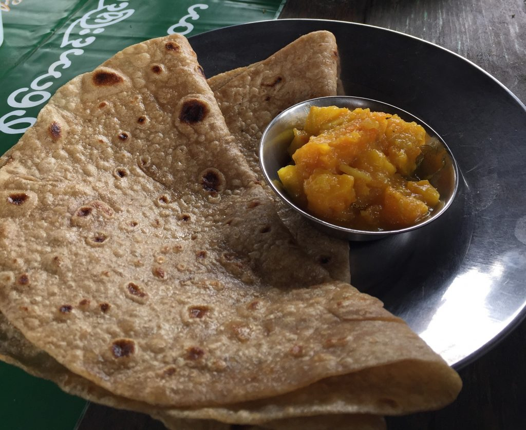 Pumpkin curry and chapatis