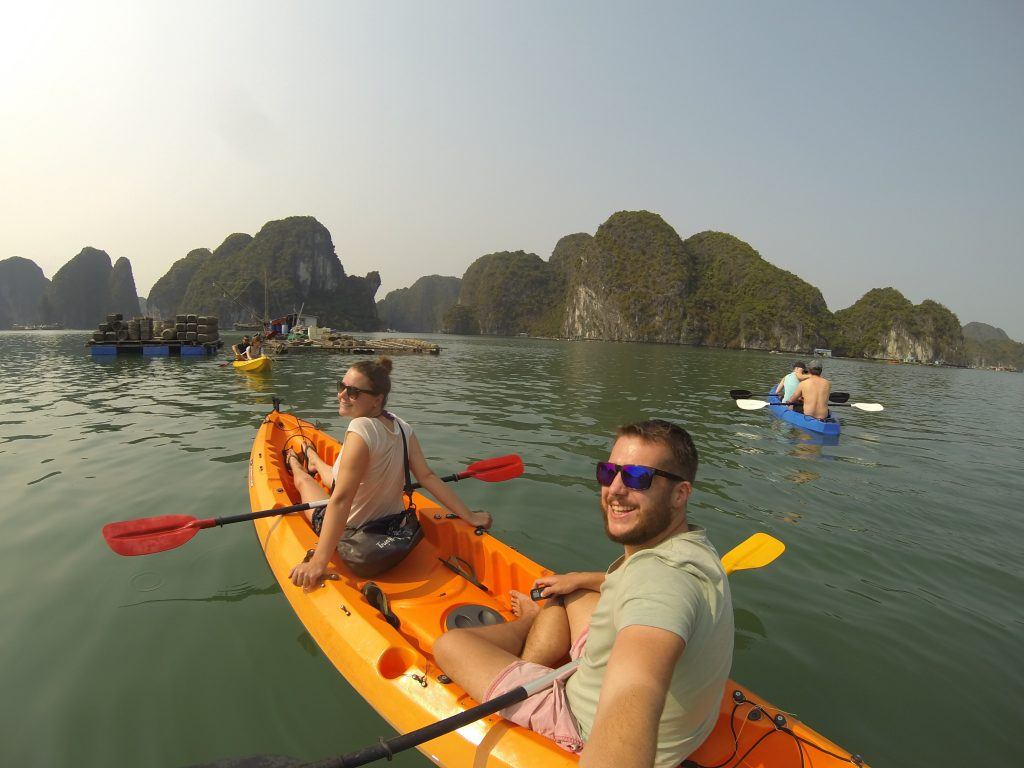 Floating village kayaking Cat Ba