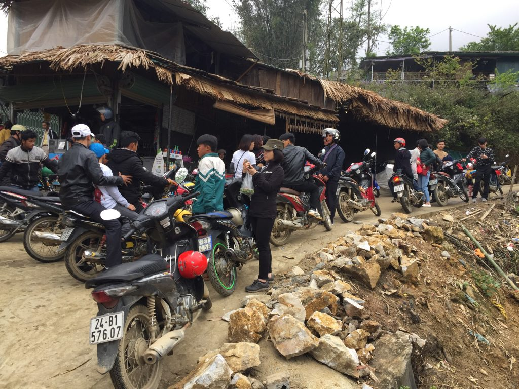 Motorbikes waiting to take tourists back up the hill from CatCat village to Sapa