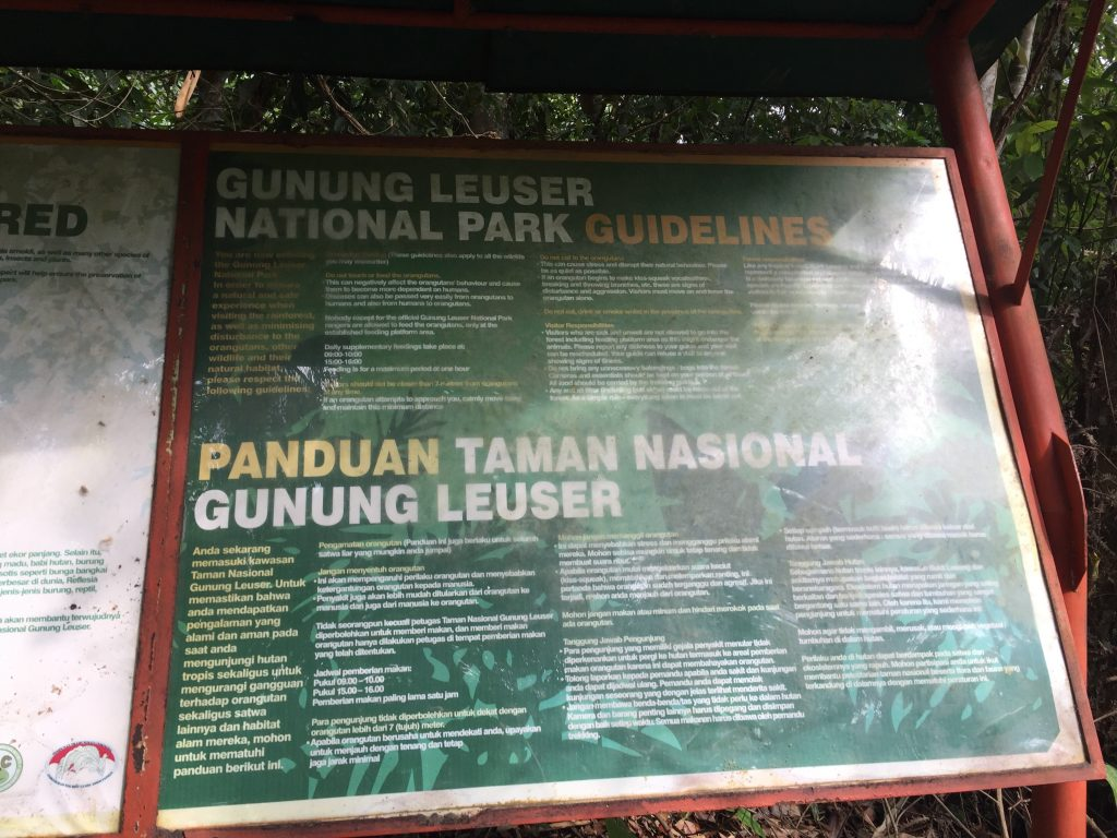 Sign at boundary of Gunung Leuser National Park